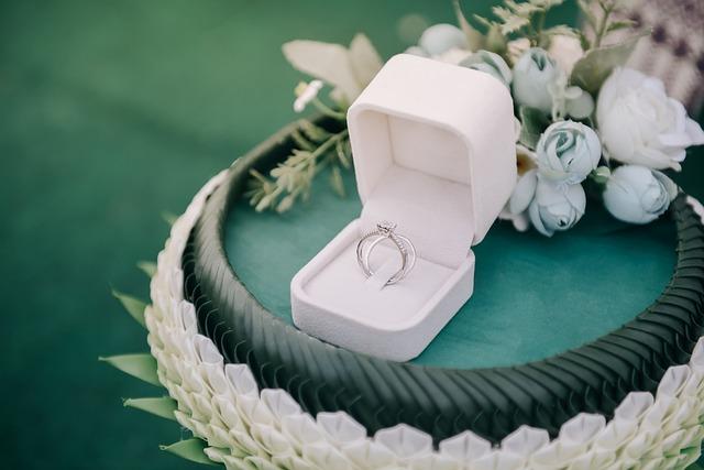 Prstýnek v bílé krabičce na zeleném kulatém tácku, kolem jsou kytičky bílo zelené